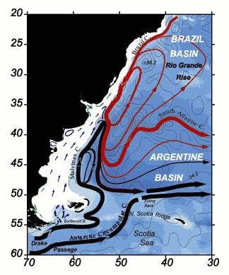 Malvinas current and Brazil current